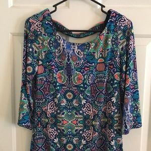Patterned 3/4 Sleeve Dress